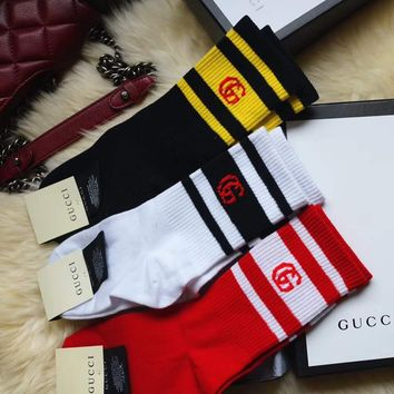 GUCCI Woman Men Stripe Embroidery Cotton Socks Stockings