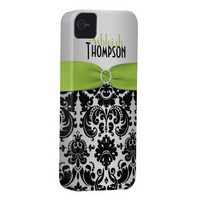 Personalized Lime, Black, Silver Damask iPhone 4 Case from Zazzle.com