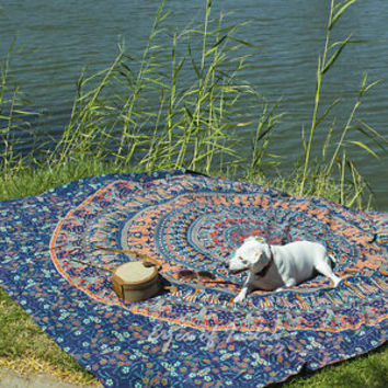 QUEEN BLUE HIPPIE ELEPHANT MANDALA TAPESTRY BEDSPREAD Beach Blanket Dorm Decor