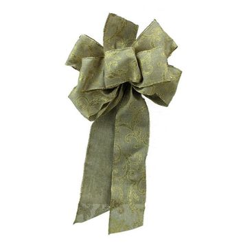 "8"" x 16"" Country Rustic Burlap Bow with Gold Scrolls Christmas Decoration"