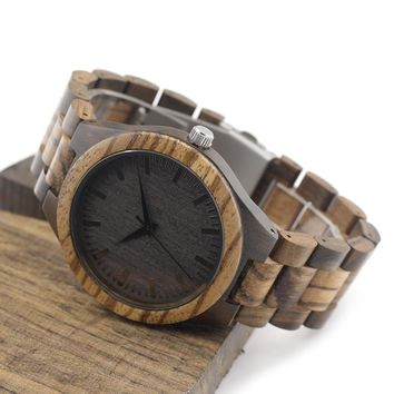 Men Luxury Oval Shape 11mm Thick Watch With Ebony Bamboo Wood Face