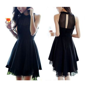 ONETOW Halter Chiffon Round Collar Dress Cocktail Dress Party Dress
