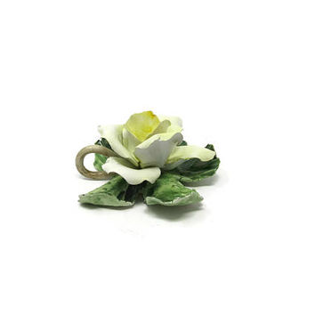 Vintage Yellow Rose Figurine / Ceramiche Artistiche Porcelain / Mother's Day Gift Idea / Gift Idea for her / Made in Italy