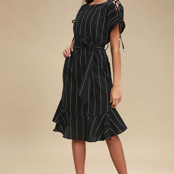 Alameda Black Striped Lace-Up Midi Dress