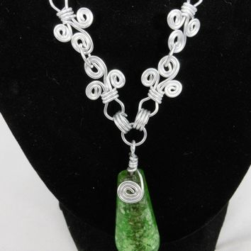 Wire Wrapped Spiral Necklace with Green Pendant, Wire Jewelry, Gift for Women
