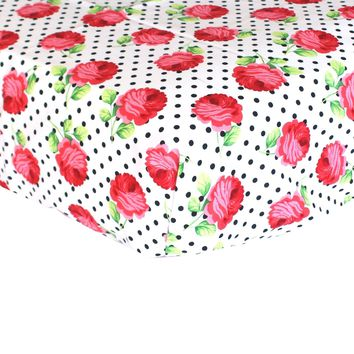 Fitted Crib Sheets   Rose Dots