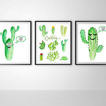 Cactus print, Cactus printable, Cactus hug me, Cactus kiss me, Botanical print, Tropical wall decor, Funny cactus kitchen, Set of 3 print