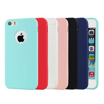 Silicone Case For Iphone 5S 5 S 6S Cover Cute Candy Colors Soft TPU Rubber Phone Bag Case For Iphone 6s 6 7 Plus