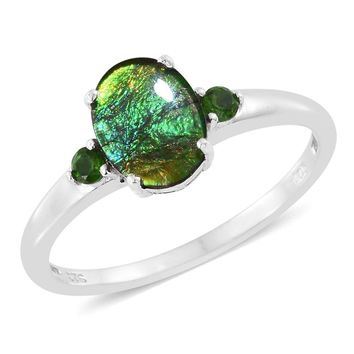 Ammolite, Russian Diopside, Platinum Over Sterling Silver Ring