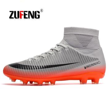 ZUFENG Brand Professional Men's Soccer Football Shoes Sneakers Outdoor TF Turf Ankle high Soccer Cleats Sneakers Adults Boots