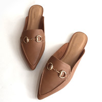 Tory Loafer Slides - Tan