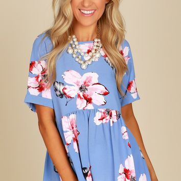 Short Sleeve Floral Peplum Top Blue