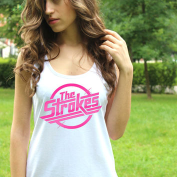 The Strokes Shirts 2 The Strokes Tank Tops White Indie Rock Women Sleeveless Tshirt Tank Tunic Tops Lady Fit Vest Crop Top T Shirt