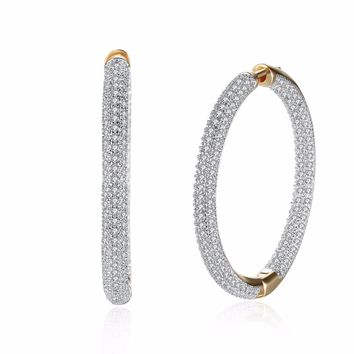 Fashion Jewelry Circular Inlay Zircon Romantic Style Gold-Color large Hoop Earrings for Women