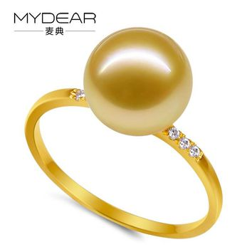 MYDEAR Gold Rings For Women Delicate Natural 8-9mm Golden Burnished Southsea Pearl Rings Jewelry,Gold Diamond Wedding Rings