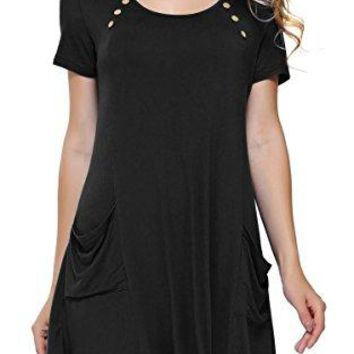 DKBAYA Petite Size Womens Cold Shoulder Off Lace up T Shirt Casual Tunic Tops