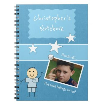 Kids Blue Photo Spiral Notebook