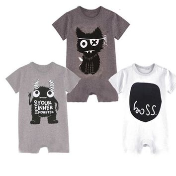 Newborn Baby Boy Rompers Little Monsters Baby Boy Clothes One Piece Baby Girls Jumpsuits 2017 Summer Baby Boy Clothing