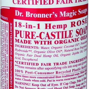 Dr. Bronner's Pure Castile Soap - Fair Trade And Organic - Liquid - 18 In 1 Hemp - Rose - 16 Oz  10% Off Auto renew