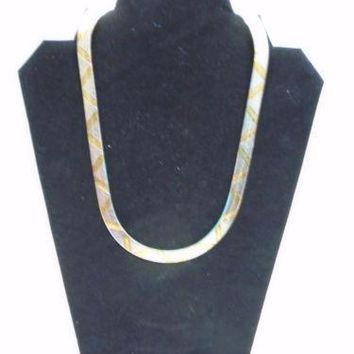 Milor Italy 925 Sterling Silver and Gold Tone Reversible Snake Chain Necklace