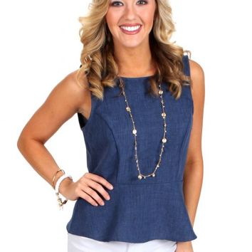 Beautiful Time Denim Blue Peplum Top | Monday Dress Boutique