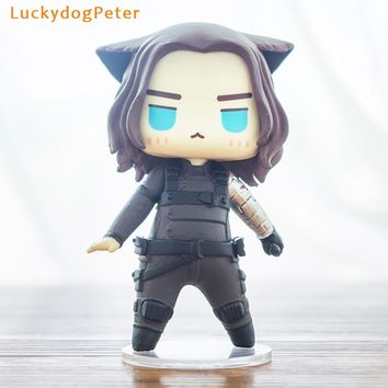 The Avengers Winter Soldier Action Figure 1/9 scale painted figure Cute Ver. Cat cos Winter Soldier Bucky Doll PVC ACGN figure