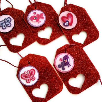 Heart Party Favors - Kids Teens- Pink, Purple, Red Glitter Hearts, Birds and Butterflies (Set of 5 Mini Gift Tags)