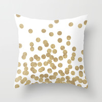 Gold Glitter Dots in scattered pattern Throw Pillow by CharlotteWinter