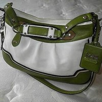 Coach Madison GREEN/WHITE Spectator Leather Shoulder Hobo Tote Bag Purse Satchel