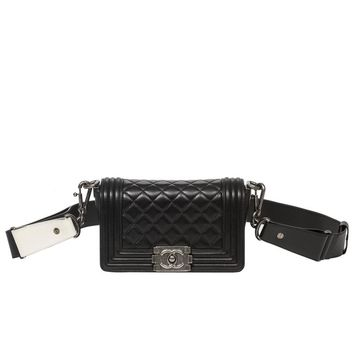 Chanel - Mini Boy Black Quilted Leather