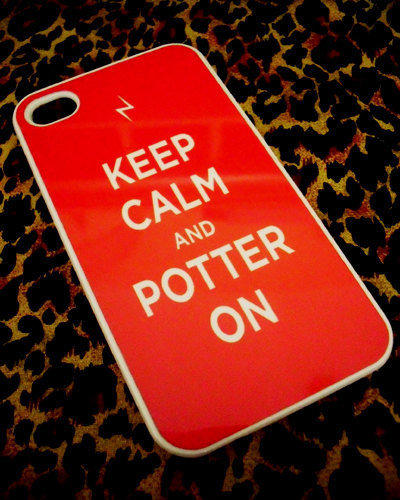 Red Keep Calm and Potter On Harry Potter iPhone 4G/4S Case