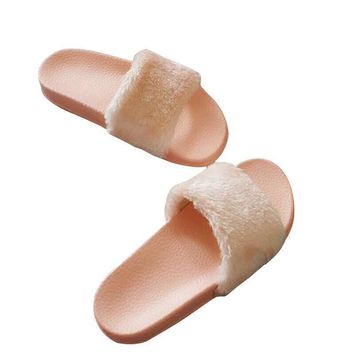Fluffy slippers 2016 new word maomao tidal flat thick bottom female cool outdoor slipp