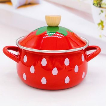 2.2L Japan High Quality strawberry Thickening Enamel Pot 18cm Soup Pot Induction Cooker Gas General Free Shipping