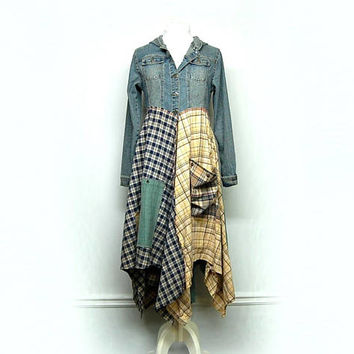 Long Denim Duster,  Long Hippie Jacket, Long Boho Duster, Long Bohemian Jacket, Free People Style, Anthroplogie Style, Upcycled Clothing