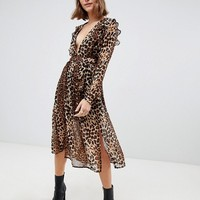 Glamorous midi dress with tie waist and split front in leopard print at asos.com