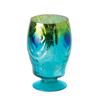 Peacock Glass Hurricane Lantern