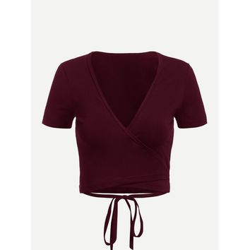 Tie Detail Wrap Crop T-Shirt