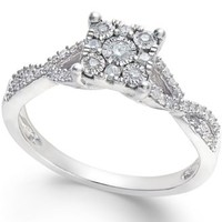 Princess-Cut Diamond Promise Ring (1/4-ct. t.w.) in Sterling Silver | macys.com