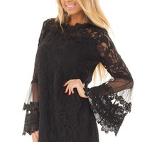 Black Lace Dress with Sheer Bell Sleeves