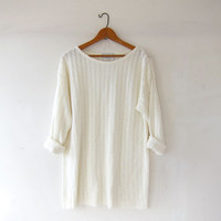 vintage slouchy knit sweater shirt. cream white oversized top. sheer tunic top. loose knit sweater shirt. EXPRESS shirt.