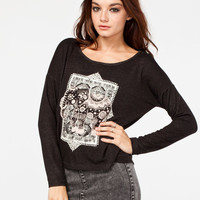 H.I.P. Elephant Womens Drop Shoulder Top Black  In Sizes