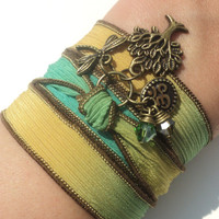 Tree of Life Silk Wrap Bracelet Om Jewelry Yoga Mother Nature Dragonfly Anklet Necklace Earthy Unique Gift Under 50 Item S2