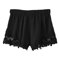 Black Flower Lace Hem Shorts
