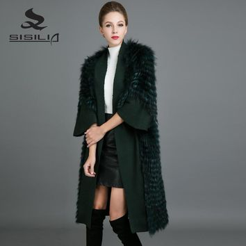 SISILIA 2017 Customizable Raccoon Fur Coats Bat Sleeve Women Winter Fur Coats Luxury  Fox Fur Stylish Long Jackets For Female
