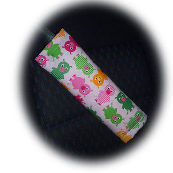 cute Piggy seatbelt pads car seat belt covers 1 pair pink pig cotton multi coloured piggies colourful pigs oink piglets green orange