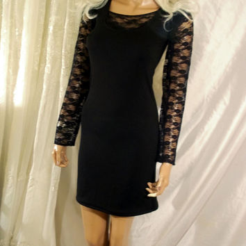 Black Dress, Black Mini Dress With Lace Sleeves, Sexy Black Dress, Little Black Dress, Party Dress, Casual Dress, Black Dress, Black Mini