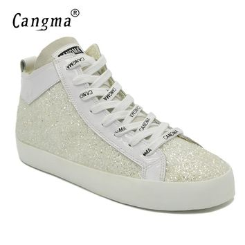 CANGMA Famous Stylish Brand Sneakers Women Sequined Flats Shoes Mid Woman's Casual Shoes Glitter White Paillette Footwear Female