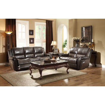 Homelegance Bosworth Love Seat & Sofa In Dark Brown Genuine Top Grain Leather Match