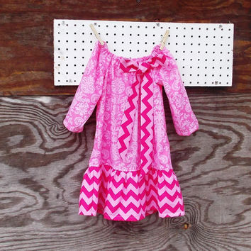 Baby Girl Fall  Dress, Pink Chevron, Bow, Long sleeve peasant Dress, Winter,  12, 18, months and 2 T size