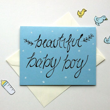 Baby Shower Card for Baby Boy- Handwritten on Light Blue Card w/ Black Archival Ink- Blank Interior